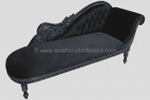 Chaise Upholstered in Noir Black Velvet